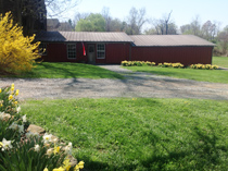 The flowers at the winery and barn in full bloom in spring